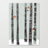feathers Canvas Prints featuring Robin Trees by Sandra Dieckmann