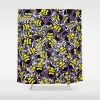 skeletor Shower Curtains featuring Skeletor Antlers by Iamzombieteeth Clothing