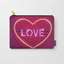 Pink Love in the Heart Neon Sign Carry-All Pouch