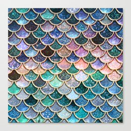 Multicolor Pink And Aqua Mermaid Scales - Beautiful Abstract Glitter Pattern Canvas Print