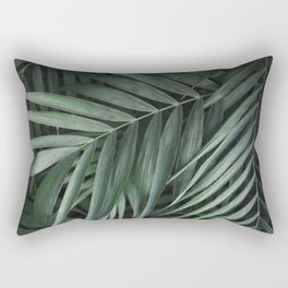 Elegant Green Tropical Leaves Rectangular Pillow
