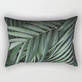 Elegant Green Tropical Leaves Rectangular Pillow