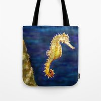 sea horse Tote Bags featuring Sea horse by Michelle Behar