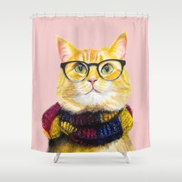 Bob the cat with glasses Shower Curtain