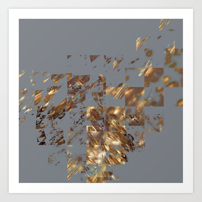 Bronze on Gray Square #abstract #society6 #decor #geometry Art Print