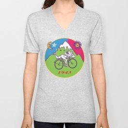 Albert Hofmann Bicycle Day LSD 1943 Circle Unisex V-Neck