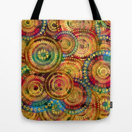 Colorful Circular Tribal  pattern with gold Tote Bag