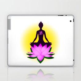 Yoga meditation in pink lotus flower Laptop & iPad Skin