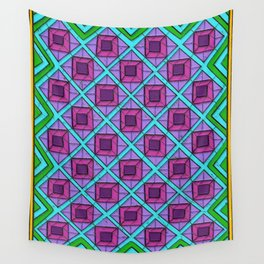 Squares in Diamonds Blur Wall Tapestry
