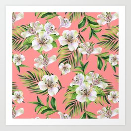 White flowers on a pink background Art Print