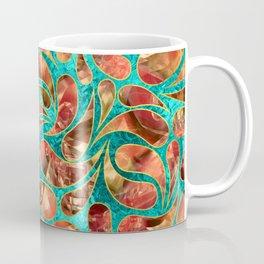 Gold Framed Red Gemstone  Paisley pattern on teal Coffee Mug