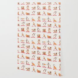 English Bulldog Yoga Watercolor Wallpaper