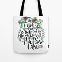 sylvia plath Tote Bags featuring Hand-lettered Sylvia Plath quote with flowers by to florence with love