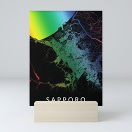 Sapporo, Japan, City, Map, Rainbow, Map, Art, Print Mini Art Print