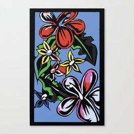 tropical flowers blue Canvas Print