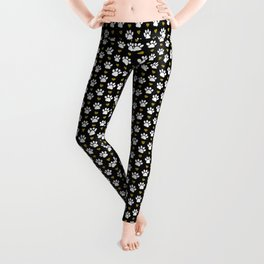 Dog Paws, Traces, Glitter, Hearts - Gold Black Leggings