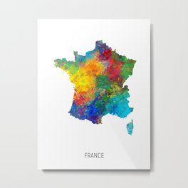 France Watercolor Map Metal Print