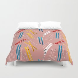 Colorful Ski Illustration and Pattern no 2 Duvet Cover