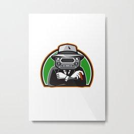Mobster Car Grille Face Half Circle Retro Metal Print