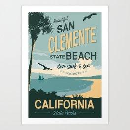 San Clemente State Beach Travel Poster Art Print