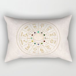 Birthstones and Astrological Signs Wheel Rectangular Pillow