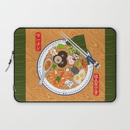 Japanese Food Ramen Noodle Bowl with Beckoning Cat Eating Laptop Sleeve