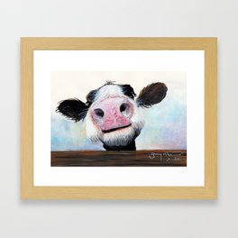 Nosey Cow ' HEY! HOW'S IT GOIN'? ' by Shirley MacArthur Framed Art Print