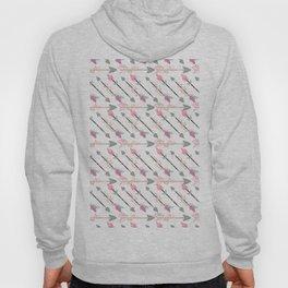 Bohemian pastel pink gray floral arrows pattern Hoody