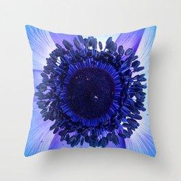 Blue anemone closeup Throw Pillow