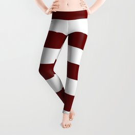 Blood red - solid color - white stripes pattern Leggings