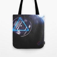 floyd Tote Bags featuring Floyd Spinning by Jasmine Marie
