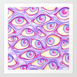 Wall of Eyes in Purple Art Print