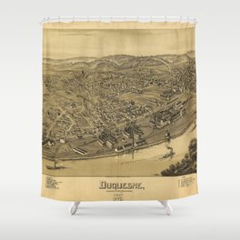 Aerial View of Duquesne, Allegheny County, Pennsylvania (1897) Shower Curtain