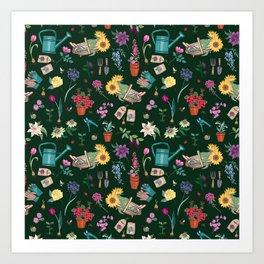 Grow Flowers Gardening Pattern on Dark Art Print