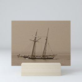 Wooden Tall ship sepia finish Mini Art Print
