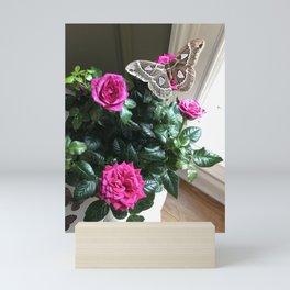 Silkmoth on Pink Roses Mini Art Print