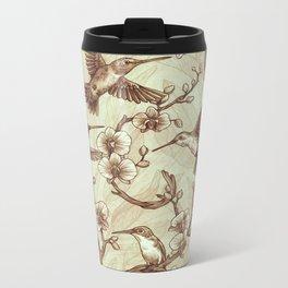 Sepia Hummingbird Pattern Metal Travel Mug