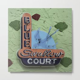 Blue Swallow Court Sign Metal Print