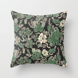 Medieval party time, dark green. Throw Pillow