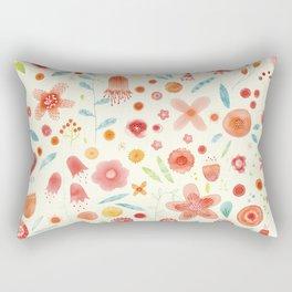 Watercolor Blooms Rectangular Pillow