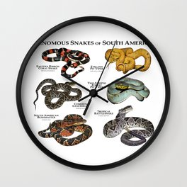 Venomous Snakes of South America Wall Clock