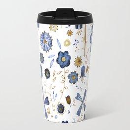 Indigo Flower Mashup Travel Mug