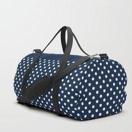 Dark blue background with white polka dots Duffle Bag