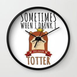Otter Marten Weasel Wine Drinking Funny Animal Gift Wall Clock