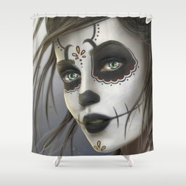 Day of the Dead Sugar Skull Girl Ultra HD Shower Curtain