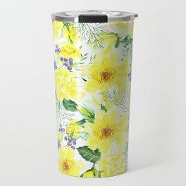 watercolor pattern yellow roses Travel Mug