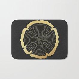 Metallic Gold Tree Ring on Black Bath Mat