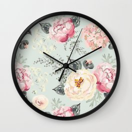 Pink peonies bouquets with gray leaves pattern Wall Clock