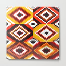 Colorful patchwork mosaic, oriental kilim rug Metal Print