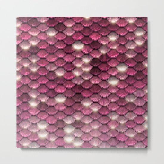 Pink mermaid glitter sparkling scales -  Mermaidscales on #Society6 Metal Print